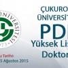 2015 2016 Çukurova Üniversitesi PDR Yüksek Lisans/Doktora